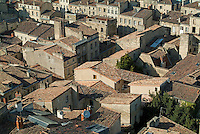 Quaint townscape and rooftops in Gironde, Bordeaux, France.