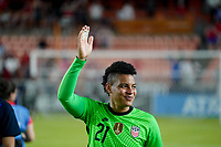 HOUSTON, TX - JUNE 13: Adrianna Franch #21 of the United States waves to the fans after a game between Jamaica and USWNT at BBVA Stadium on June 13, 2021 in Houston, Texas.