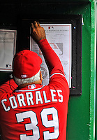 25 September 2011: Washington Nationals bench coach Pat Corrales posts the starting lineups on the dugout wall prior to a game against the Atlanta Braves at Nationals Park in Washington, DC. The Nationals shut out the Braves 3-0 to take the rubber match third game of their 3-game series - the Nationals' final home game for the 2011 season. Mandatory Credit: Ed Wolfstein Photo