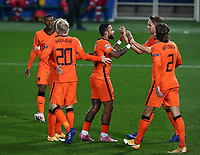 Football: Uefa Nations League Group A match Italy vs Netherlands at Gewiss stadium in Bergamo, on October 14, 2020.<br /> Netherlands' Luuk de Jong (second from left) celebrates after scoring with his teammates during the Uefa Nations League match between Italy and Netherlands at Gewiss stadium in Bergamo, on October 14, 2020. <br /> UPDATE IMAGES PRESS/Isabella Bonotto