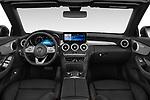 Stock photo of straight dashboard view of 2020 Mercedes Benz C-Class C300- 2 Door Convertible Dashboard