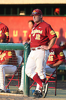 Southern California Trojans Matt Curtis #12 during a game against the UC Irvine Anteaters at Dedeaux Field on April 29, 2014 in Los Angeles, California. Stanford defeated Southern California, 6-2. (Larry Goren/Four Seam Images)