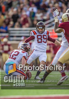 2 November 2013: Virginia Tech Hokies kicker Cody Journell (89) kicks a conversion point after the Virginia Tech touchdown in the fourth quarter against the Boston College Eagles at Alumni Stadium in Chestnut Hill, MA. The Eagles defeated the Hokies 34-27. Mandatory Credit: Ed Wolfstein-USA TODAY Sports *** RAW (NEF) Image File Available ***