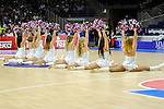 Real Madrid´s cheerleaders during 2014-15 Liga Endesa match between Real Madrid and Unicaja at Palacio de los Deportes stadium in Madrid, Spain. April 30, 2015. (ALTERPHOTOS/Luis Fernandez)
