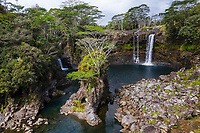 Waterfalls at Boiling Pots, historic pools in the Wailuku River in Hilo, Big Island of Hawai'i.