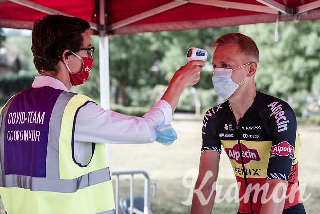 Belgian National Champion Tim Merlier (BEL/Alpecin-Fenix) with a pre race temperature check. <br /> <br /> <br /> Dwars Door Het Hageland 2020<br /> One Day Race: Aarschot – Diest 180km (UCI 1.1)<br /> Bingoal Cycling Cup 2020