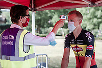 Belgian National Champion Tim Merlier (BEL/Alpecin-Fenix) with a pre race temperature check. <br /> <br /> <br /> Dwars Door Het Hageland 2020<br /> One Day Race: Aarschot – Diest 180km (UCI 1.1)<br /> Bingoal Cycling Cup 2020