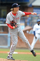 Greenville Drive starting pitcher Henry Owens #32 delivers a pitch during a game against the Asheville Tourists at McCormick Field on May 23, 2012 in Asheville, North Carolina . The Tourists defeated the Drive 7-2. (Tony Farlow/Four Seam Images).