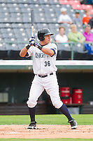 Avisail Garcia (36) of the Charlotte Knights at bat against the Lehigh Valley IronPigs at Knights Stadium on August 6, 2013 in Fort Mill, South Carolina.  The IronPigs defeated the Knights 4-1.  (Brian Westerholt/Four Seam Images)