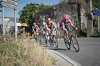 the early breakaway group with later stage winner Luka Pibernik (SVN/Lampre-Merida) leading<br /> <br /> 12th Eneco Tour 2016 (UCI World Tour)<br /> Stage 6: Riemst › Lanaken (185km)