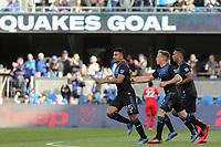 SAN JOSE, CA - FEBRUARY 29: Andy Rios #25 of the San Jose Earthquakes celebrates scoring with teammates during a game between Toronto FC and San Jose Earthquakes at Earthquakes Stadium on February 29, 2020 in San Jose, California.