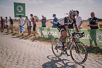 Edward Theuns (BEL/Sunweb) on pavé sector #3 with some proof of an earlier crash<br /> <br /> Stage 9: Arras Citadelle > Roubaix (154km)<br /> <br /> 105th Tour de France 2018<br /> ©kramon