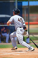 GCL Marlins first baseman Colby Lusignan (45) hits a home run during a game against the GCL Mets on August 12, 2016 at St. Lucie Sports Complex in St. Lucie, Florida.  GCL Marlins defeated GCL Mets 8-1.  (Mike Janes/Four Seam Images)