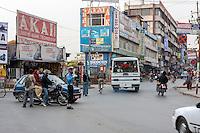 Nepal, Kathmandu.  Motorcycle Traffic on Putali Sadak Street.