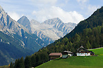 Italy, South Tyrol, Valle di Anterselva, farmhouse and Vedrette di Ries mountains