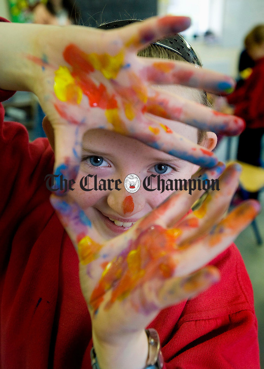 Amy Costello has fun in art class at Ballyvaughan NS. Photograph by John Kelly.
