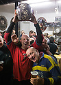 """17/02/15  <br /> <br /> 'Vince Brayne (34) celebrates with his ball after 'gaoling' a ball at the annual Royal Shrovetide Football  Match in Ashbourne, Derbyshire. After 'turning up' the ball at 2pm thousands of rival Up'Ards' and Down'Ards' team members attempt to 'goal' the ball onto stones set three miles apart in the town of Ashbourne, Derbyshire. The game also known as """"hugball"""" has been played from at least c.1667 although the exact origins of the game are unknown but one of the most popular origin theories suggests the macabre notion that the 'ball' was originally a severed head tossed into the waiting crowd following an execution.<br /> <br /> <br /> All Rights Reserved - F Stop Press.  www.fstoppress.com. Tel: +44 (0)1335 418629 +44(0)7765 242650"""