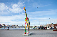 Giraffe art installation, part of Marseille 2013 European City of Culture initiatives, in the Old Port, Marseille, France, 04 February 2013