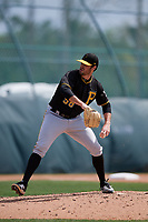 Pittsburgh Pirates Cam Alldred (58) during a minor league Spring Training game against the Philadelphia Phillies on March 13, 2019 at Pirate City in Bradenton, Florida.  (Mike Janes/Four Seam Images)