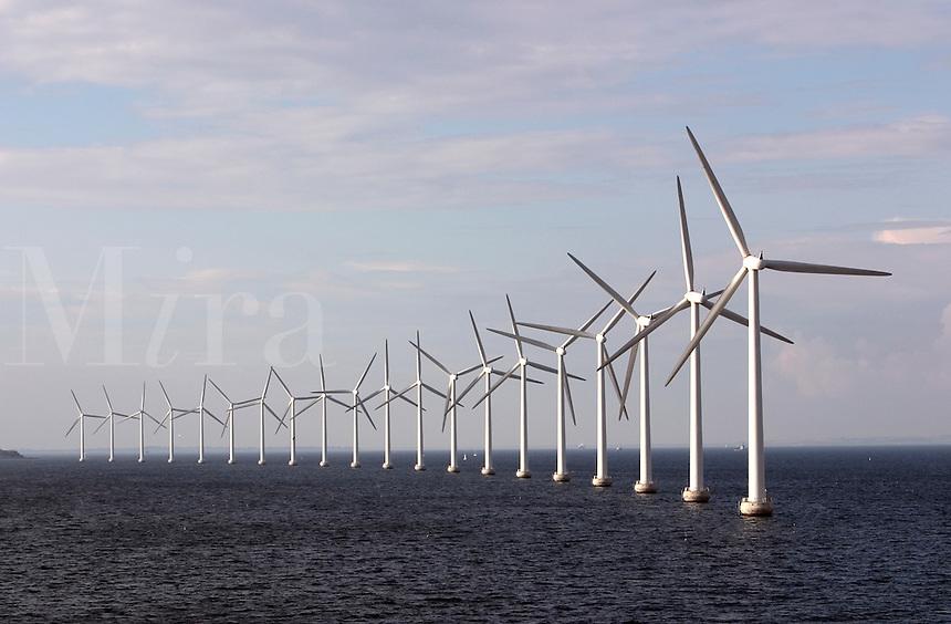 Giant wind turbines just outside the Copenhagen, Denmark harbour.
