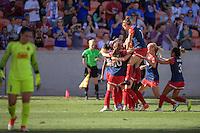 Houston, TX - Sunday Oct. 09, 2016: Crystal Dunn celebrates scoring during a National Women's Soccer League (NWSL) Championship match between the Washington Spirit and the Western New York Flash at BBVA Compass Stadium.