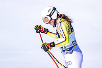13th February 2021, Cortina, Italy; FIS World Championship Womens Downhill Skiing;  Kira Weidle of Germany reacts after the womens Downhill Race