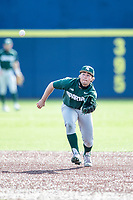 Michigan State Spartans second baseman Trent Farquhar (1) fields a ground ball against the Michigan Wolverines on March 22, 2021 in NCAA baseball action at Ray Fisher Stadium in Ann Arbor, Michigan. Michigan State beat the Wolverines 3-0. (Andrew Woolley/Four Seam Images)