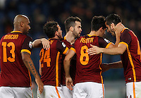 Calcio, Serie A: Roma vs Sampdoria. Roma, stadio Olimpico, 7 febbraio 2016.<br /> Roma's Diego Perotti, second from left, celebrates with teammates, from left, Maicon, Alessandro Florenzi, Miralem Pjanic and Kostas Manolas, after scoringduring the Italian Serie A football match between Roma and Sampdoria at Rome's Olympic stadium, 7 January 2016.<br /> UPDATE IMAGES PRESS/Riccardo De Luca