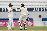 Ollie Pope congratulates Hashim Amla on his century for Surrey CCC during Surrey CCC vs Hampshire CCC, LV Insurance County Championship Group 2 Cricket at the Kia Oval on 30th April 2021