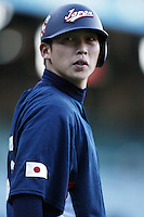 Takahiro Arai of Japan during World Baseball Championship at Angel Stadium in Anaheim,California on March 15, 2006. Photo by Larry Goren/Four Seam Images