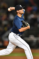 Pitcher Taylor Henry (17) of the Columbia Fireflies delivers a pitch in a game against the West Virginia Power on Friday, May 19, 2017, at Spirit Communications Park in Columbia, South Carolina. West Virginia won, 3-1. (Tom Priddy/Four Seam Images)