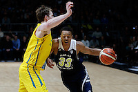 July 12, 2016: LORENZO BONAM (33) of the Utah Utes is fouled during game 1 of the Australian Boomers Farewell Series between the Australian Boomers and the American PAC-12 All-Stars at Hisense Arena in Melbourne, Australia. Sydney Low/AsteriskImages.com