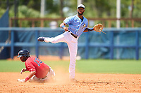 FCL Rays second baseman Gionti Turner (80) turns a game ending double play as Alexander Pena (13) slides in during a game against the FCL Twins on July 20, 2021 at Charlotte Sports Park in Port Charlotte, Florida.  (Mike Janes/Four Seam Images)