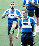 Leicester City FC's Jamie Vardy (r) and Danny Simpson during training session. April 11, 2017.(ALTERPHOTOS/Acero)