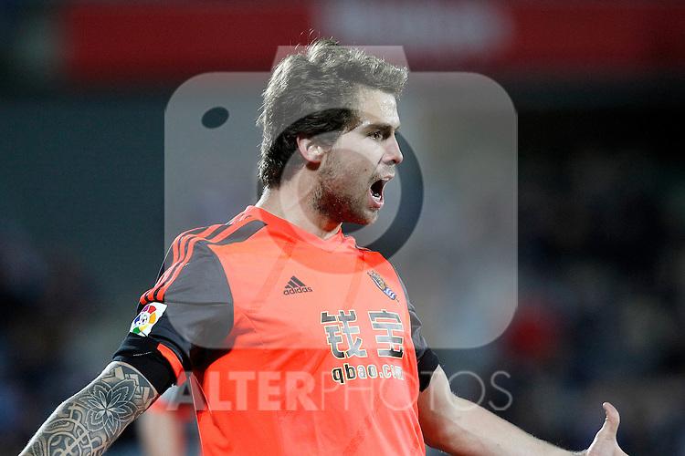 Real Sociedad's Inigo Martinez celebrates goal during La Liga match.March 16,2015. (ALTERPHOTOS/Acero)