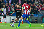 Kevin Volland of Bayer 04 Leverkusen competes for the ball with Diego Godin of Atletico de Madrid during the match of Uefa Champions League between Atletico de Madrid and Bayer Leverkusen at Vicente Calderon Stadium  in Madrid, Spain. March 15, 2017. (ALTERPHOTOS / Rodrigo Jimenez)