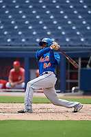 GCL Mets first baseman Luis Montero (69) bats during the second game of a doubleheader against the GCL Nationals on July 22, 2017 at The Ballpark of the Palm Beaches in Palm Beach, Florida.  GCL Mets defeated the GCL Nationals 4-1.  (Mike Janes/Four Seam Images)