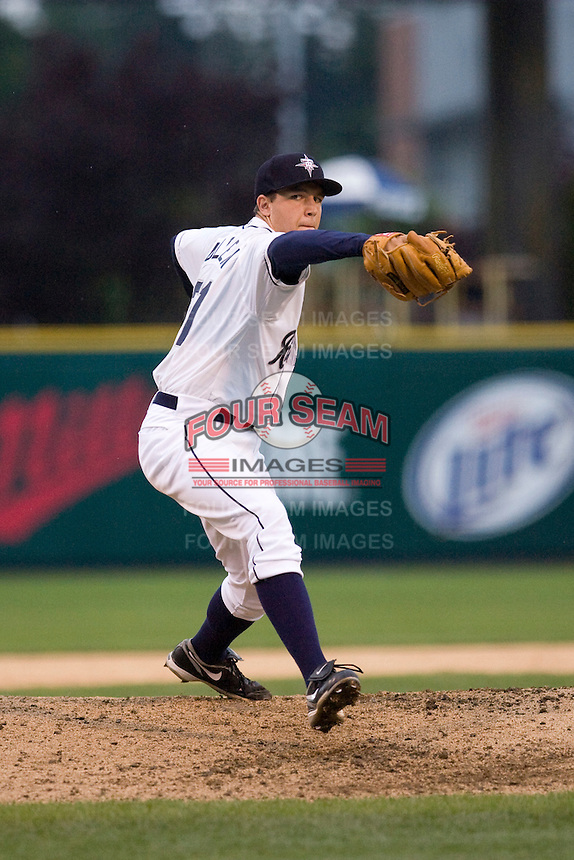 Tacoma Rainiers starting pitcher Danny Hultzen #21 delivers a pitch during a game against the Las Vegas 51s at Cheney Stadium on June 28, 2012 in Tacoma, WA.  Las Vegas defeated Tacoma 11-4.  (Ronnie Allen/Four Seam Images)