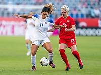 CARSON, CA - FEBRUARY 07: Raquel Rodriguez #11 of Costa Rica is defended by Sophie Schmidt #13 of Canada during a game between Canada and Costa Rica at Dignity Health Sports Park on February 07, 2020 in Carson, California.