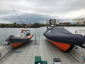 Lagan Search and Rescue boats on the pontoon in Belfast Harbour Marina