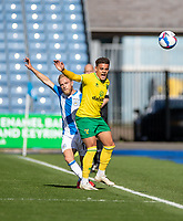 12th September 2020 The John Smiths Stadium, Huddersfield, Yorkshire, England; English Championship Football, Huddersfield Town versus Norwich City;  Alex Pritchard of Huddersfield Town and  Max Aarons of Norwich City contest the ball