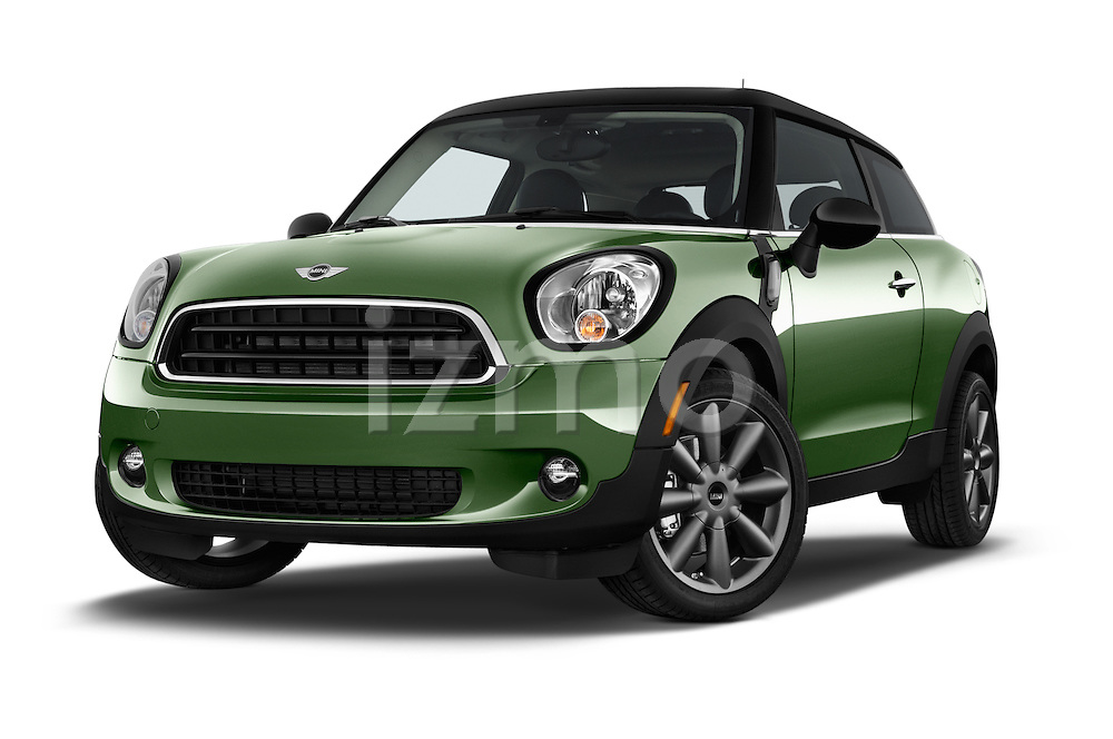 Stock pictures of low aggressive front three quarter view of a 2015 MINI Paceman Cooper 3 Door Hatchback Low Aggressive