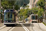 Trimet MAX lightrail train and Portland Streetcar at the Portland Transit Mall.