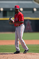 Los Angeles Angels relief pitcher Jorge Tavarez (97) during a Minor League Spring Training game against the Colorado Rockies at Tempe Diablo Stadium Complex on March 18, 2018 in Tempe, Arizona. (Zachary Lucy/Four Seam Images)