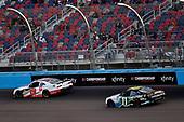 #19: Brandon Jones, Joe Gibbs Racing, Toyota Supra Toyota Service Centers and #11: Justin Haley, Kaulig Racing, Chevrolet Camaro LeafFilter Gutter Protection