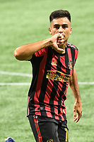 """ATLANTA, GA - AUGUST 22: Gonzalo """"Pity"""" Martinez #10 celebrates his first goal of the match during a game between Nashville SC and Atlanta United FC at Mercedes-Benz Stadium on August 22, 2020 in Atlanta, Georgia."""