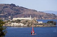 San Francisco, California - Sail Boat, Alcatraz Island, San Francisco Bay.