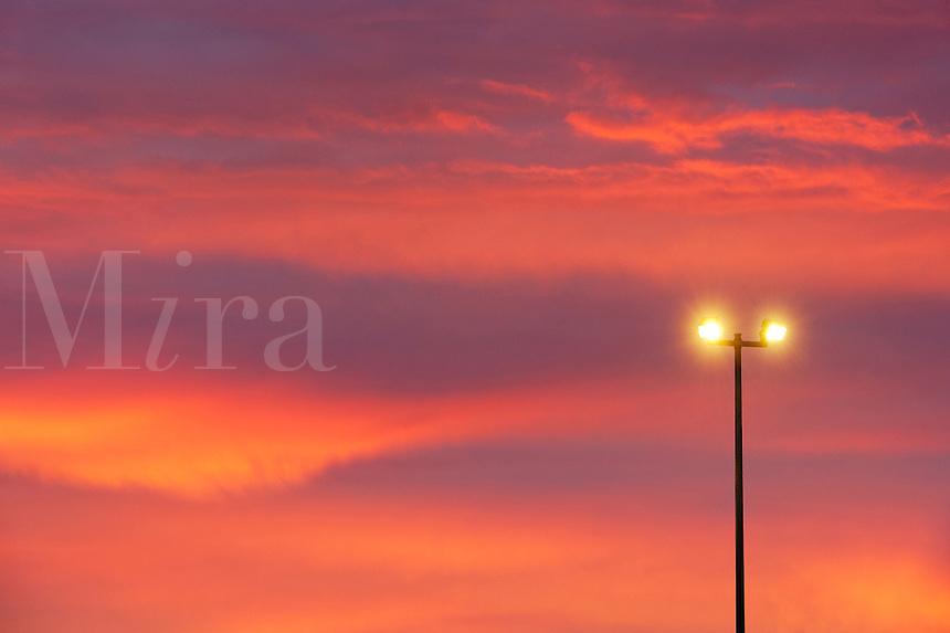 Street lamp and sunset sky.