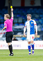 21st November 2020; Kenilworth Road, Luton, Bedfordshire, England; English Football League Championship Football, Luton Town versus Blackburn Rovers; Joe Rothwell of Blackburn Rovers in receipt of his yellow card