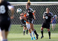 BOYDS, MARYLAND - July 22, 2012:  Jerica DeWolfe (20) of DC United Women pulls down the ball aginst the Charlotte Lady Eagles during the W League Eastern Conference Championship match at Maryland Soccerplex, in Boyds, Maryland on July 22. DC United Women won 3-0.